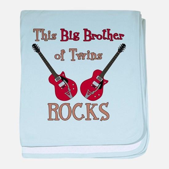 Big Bro Rocks Twins baby blanket