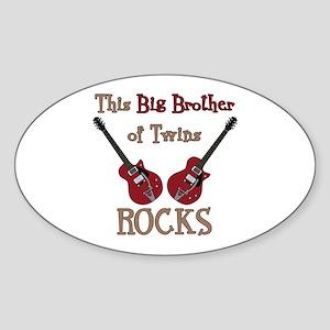 Big Bro Rocks Twins Sticker (Oval)