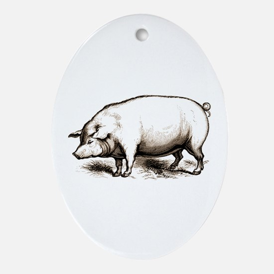 Victorian Pig Oval Ornament