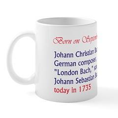 Mug: Johann Christian Bach, German composer,
