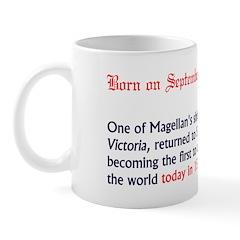 Mug: One of Magellan's ships, the Victoria, return