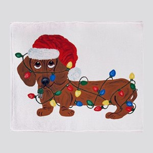 Dachshund (red) Tangled In Christmas Throw Blanket