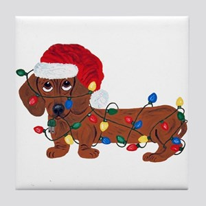 Dachshund (Red) Tangled In Christmas Lights Tile C
