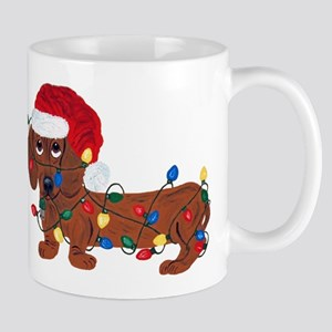 Dachshund (Red) Tangled In Christmas Lights Mug