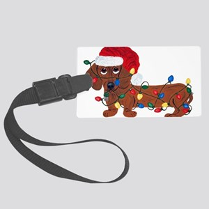 Dachshund (Red) Tangled In Christmas Lights Large