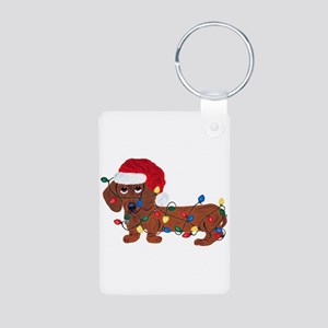 Dachshund (Red) Tangled In Christmas Lights Alumin
