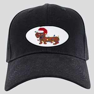 Dachshund (red) Tangled In Christmas Black Cap