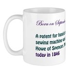 Mug: A patent for hand-cranked, lock stitch sewing