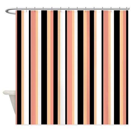 Black Stripes With Peach Shower Curtain By Jqdesigns