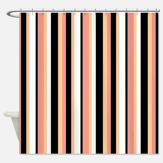 Black Stripes with Peach Shower Curtain
