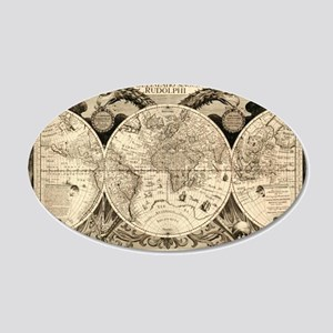 Vintage Old World Map - 1630 20x12 Oval Wall Decal