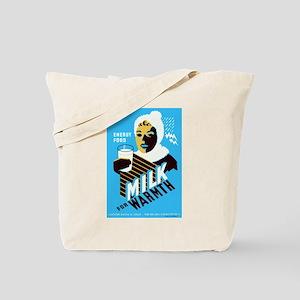Vintage Milk for Warmth Tote Bag
