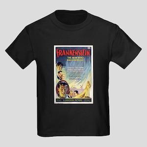 Vintage Frankenstein Horror Movie Kids Dark T-Shir