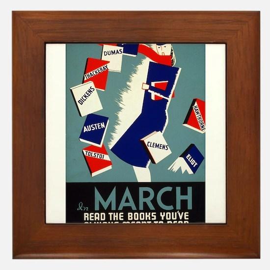 Vintage March is for Reading Framed Tile