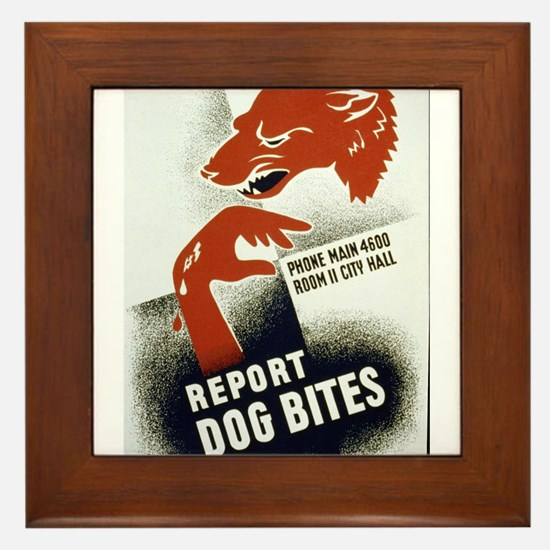Retro Report Dog Bites Framed Tile