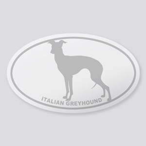 Italian Greyhound - Gray on Clear Sticker (Oval)