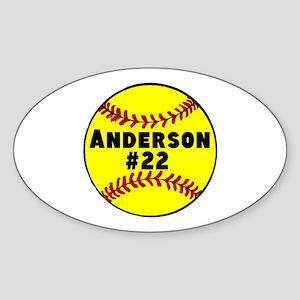 Personalized Softball Sticker (Oval)