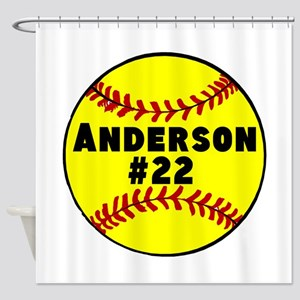 Personalized Softball Shower Curtain