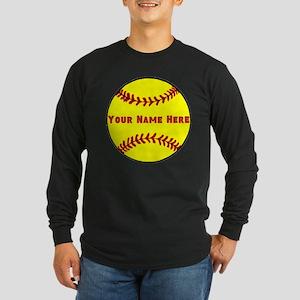 Personalized Softball Long Sleeve Dark T-Shirt
