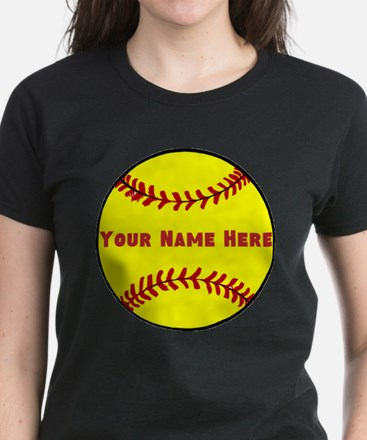 Personalized Softball Women's Dark T-Shirt
