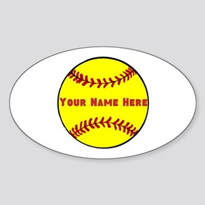 Personalized Softball Sticker (Oval)