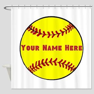 Personalized Softball Shower Curtain