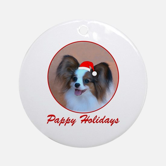 Pappy Holidays (sable santa hat) Ornament (Round)