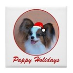 Pappy Holidays (sable santa hat) Tile Coaster