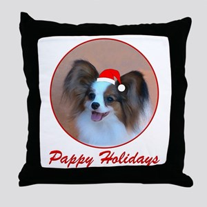 Pappy Holidays (sable santa hat) Throw Pillow