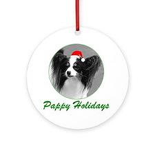 Pappy Holidays (b/w santa hat) Ornament (Round)
