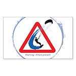 Warning - Kiters present Sticker (Rectangle 10 pk)