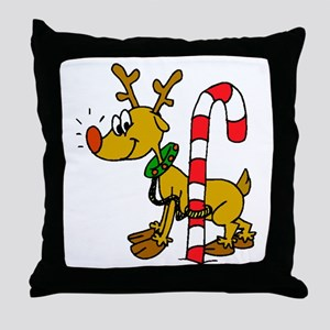 Reindeer with Candy Cane Throw Pillow