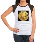 Black-Gold Buffalo-Indian Women's CapSleeve TShirt