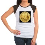 Black-Gold Indian/Buffalo Women's CapSleeve TShirt