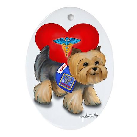 Medical AlertYorkie Ornament (Oval)