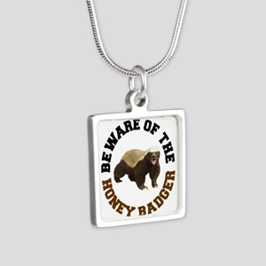 Honey Badger Beware Silver Square Necklace