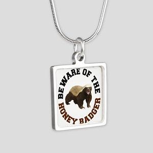 Honey Badger Beware Silver Square Necklace