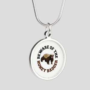 Honey Badger Beware Silver Round Necklace