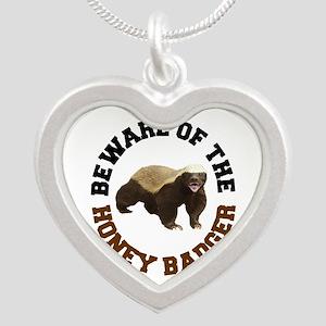 Honey Badger Beware Silver Heart Necklace