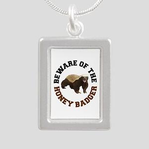 Honey Badger Beware Silver Portrait Necklace