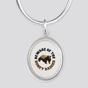 Honey Badger Beware Silver Oval Necklace