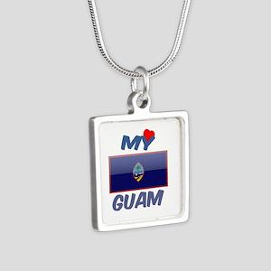 My Love Guam Silver Square Necklace
