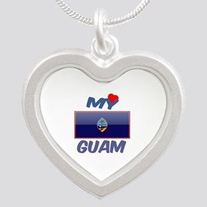 My Love Guam Silver Heart Necklace