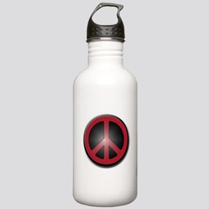 Glowing Red Peace Symbol Stainless Water Bottle 1.