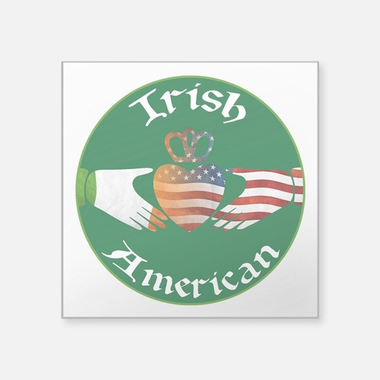 "Irish American Claddagh Square Sticker 3"" x 3"