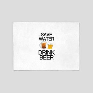 Save Water Drink BEER 5'x7'Area Rug