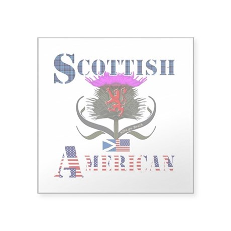 "Scottish American Thistle Square Sticker 3"" x 3"""