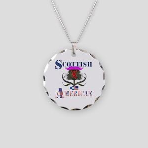 Scottish American Thistle Necklace Circle Charm