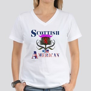 Scottish American Thistle Women's V-Neck T-Shirt