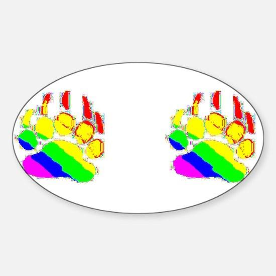 2 IMAGE-RAINBOW BEARPAWS Oval Decal